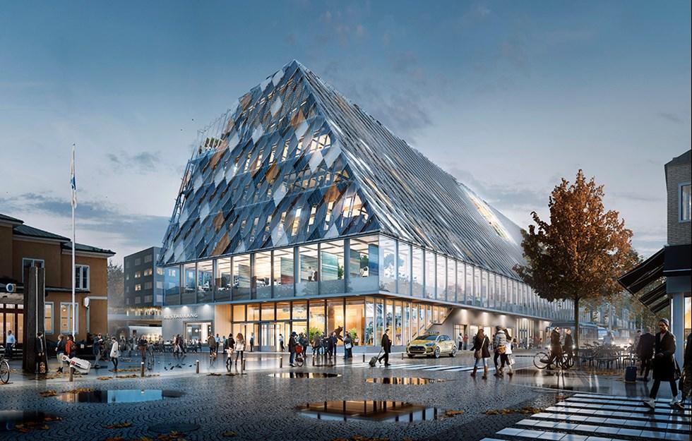 Glass and wood create a new landmark