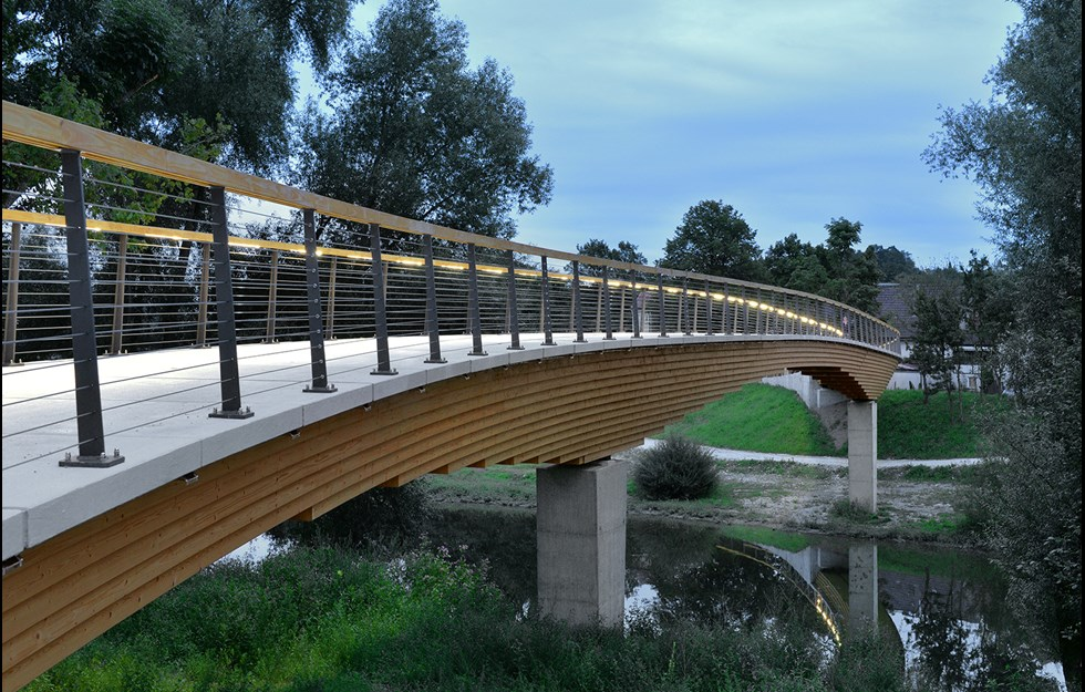 96 metre long wooden bridge designed for the river